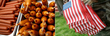 Obama to scare the beJesus out of Iranian diplomats by force feeding him July 4th food spread: corndogs and Sabrett's hot dogs. Our weapns of mass destruction.