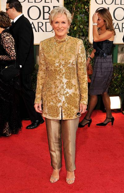 Proof positive that you're never to old to get a stylist. And here Glenn CLose, who works exclsuively with Armani, needed a stylist's eye to say...get that shit off.