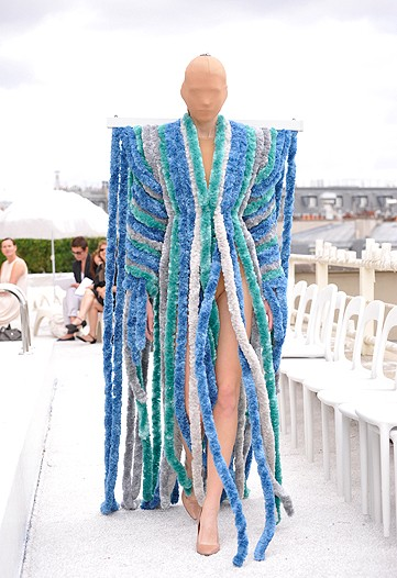 Here Margiela uses those silly snakes in a can to piece together this couture...what the f&#k is this?