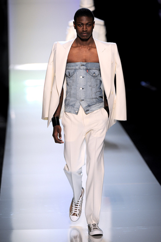 This Manzie ensemble by Jean Paul Gaultier speaks volumes as to why a bustier, denim or otherwise, makes any man a Manzie.