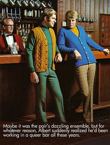 I couldn't resist throwing in some vintage men's ready-to-wear ads due to the absolute brilliance and hilariousness.