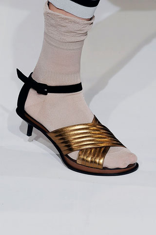 Marni showed a regular sandal (which I actually don't like) with these old lady hose. Is she kidding?