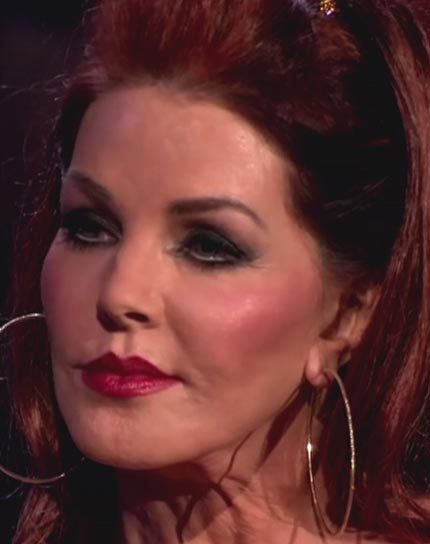 This is as far as Priscilla Presley can open her mouth.Ouch. I heard she used motor oil or something scary like that.