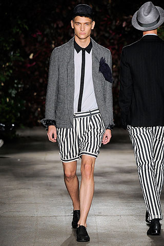 I have said time and time again, shorts and blazers will never equal a suit. And striped bubble shorts for men is like a jock stap for women. Not gonna happen.