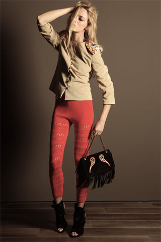 Trussardi 1911 is another brand name that has just not been able to hold onto it's mojo. And B) What color are those leggings. And C) Are those leggings or knit panty hose?