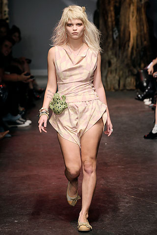 "Vivienne Westwood's homage to Darryl Hannah in ""The Clan of the Cave Bear""."