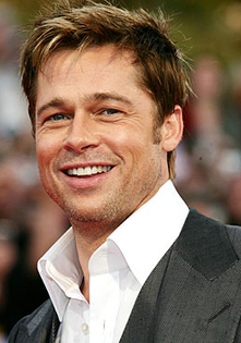 Brad Pitt sports this modified, choppy look with that winning smile.