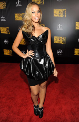 Leona Lewis wore this cat dress meets garbage bag. The tips of those cat ear things look dangerous.