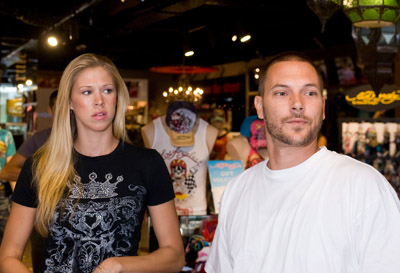 Kevin Federline and his piece were at the Ed Hardy store in Brisbane of all places.