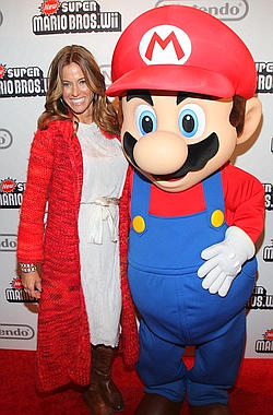 Kelly Bensimon and Super Mario Brother.