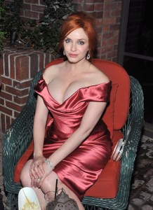 Christina Hendricks' boobs officially sucked all the air out of the room. I appreciate décolletage, but this is one-half milimeter waway of Nipples mcGee.