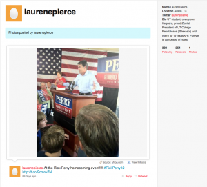 Little Miss Muffet at Rick Perry event. yay!!!