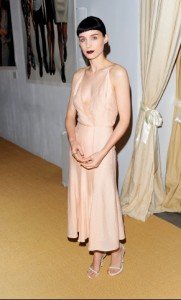 Rooney Mara wore soemthing that washed her out. The only thing you can see are her bangs. Is she even there?
