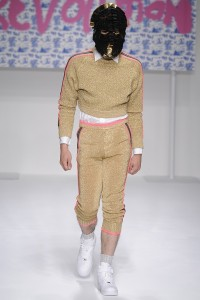 And when you're not fencing, you are in full regalia with this lurex head-to-toe knit thing accentuating your crotch.
