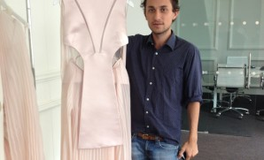 Esteban Cortazar is like a kid in a candy store in the new Net-A-Porter.com showroom when he showed me his new collection that launches today.