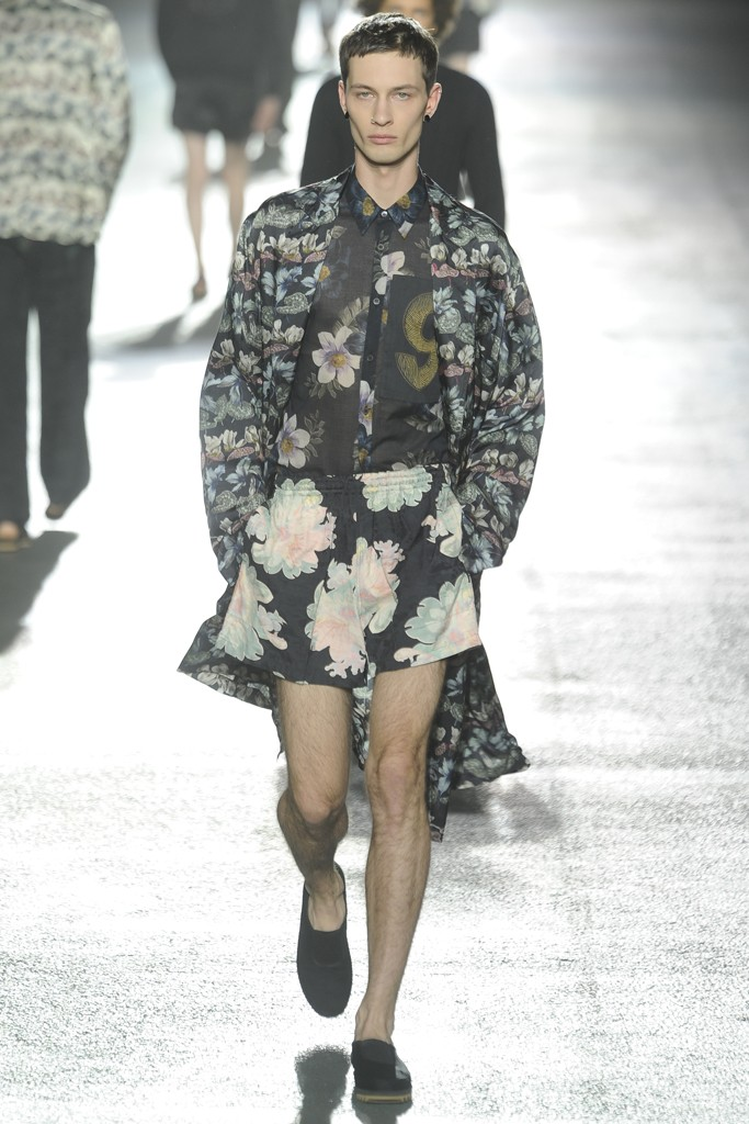 Dries Van Noten collection is stunning, but this ensemble could have been cut. Floral skirts? Fotz.